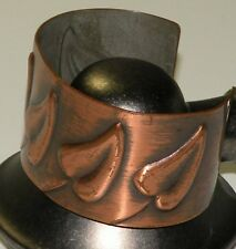Signed Vintage REBAJES COPPER MODERNIST RAISED LEAF CUFF BRACELET