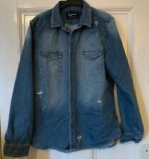 Topman Distressed Denim Shirt L LARGE TORN RIPPED FADED