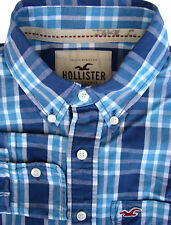 HOLLISTER Shirt Mens 15.5 S Blue & White Check