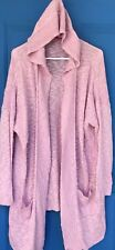 NEW Woman Within 22/24 1X Pink Thin Open Sweater Hooded With Pockets