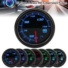 "2"" 52mm Car 7 Color LED Oil Temperature Temp Gauge Meter w/ 1/8 NPT Sensor 12V"