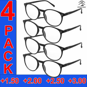 READING GLASSES MENS ROUND FRAME READERS HIGH QUALITY 4 PAIRS HANG TEN BRANDED