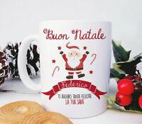 Tazza Personalizzata con Babbo Natale e Nastro Rosso con Nome – Idea Regalo Nata