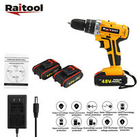 Raitool 48VF Cordless Electric Rechargeable 3/8'' Impact Drill Screwdriver w LED