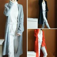 2019 Women's Cashmere Cardigan Long Sweater With Pockets Loose Coat S-XXL