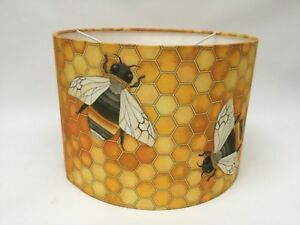 "Yellow Honey Bee Honeycomb Hanging Drum Lampshade 12"" Ceridwen Design England"