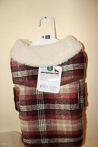 Fashion Pet Country Plaid Coat With Fleece Lining Brown & White Med.  new