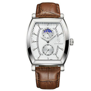 MENS STOCKWELL MOON PHASE WATCH WITH SUB WHITE DIALS LEATHER STRAP GIFT BOX
