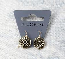 Danish Design Pilgrim Orecchini Pendenti Oro PIASTRA fretwork Sea Flower NUOVO CON ETICHETTA