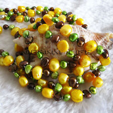 Pearl Necklace 58 Inches 6-10mm Multicolor Baroque Freshwater Pearl Necklace UK