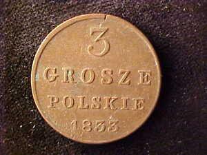 POLAND 3 GROSZE 1833