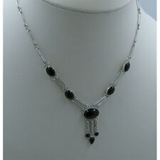 .925 Sterling Silver Natural Black Onyx Link Chain Necklace