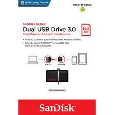 SanDisk 64GB Ultra Micro USB 3.0 OTG Flash Dual Drive Stick 64G 64 GB Memory