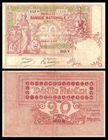 BELGIUM 20 Francs 1913 RARE ! ( VF) Condition  P67 The goddess Minerva with a li