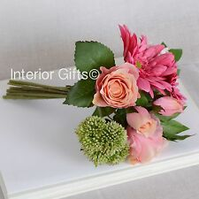 Faux Silk Flowers ROSE & GERBERA BOUQUET pink realistic artificial bunch foliage