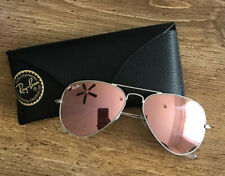 Ray Ban RB3025 Aviator Silver Metal Frame Pink Copper Mirror Lenses Sunglasses