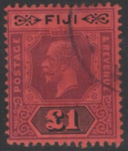 FIJI SG137a 1923 £1 PURPLE & BLACK/RED DIE II FINE USED
