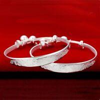 Jewelry Plated Silver Chinese Style Bangle Bracelet Adjustable Jingle