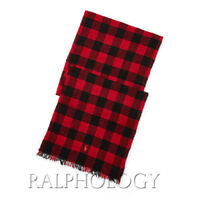 Polo Ralph Lauren Italy Mens Womens Pony Red Black Buffalo Check Cashmere Scarf
