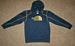 THE NORTH FACE blue with yellow stitching hooded sweatshirt Size LG 14 /16
