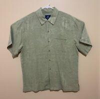 Caribbean Joe 100% Washable Silk Shirt Men's Medium Bamboo Hawaiian