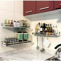 Stainless Steel Kitchen Wall-Mounted Cookware Drain Storage Shelf Spice Jar Rack