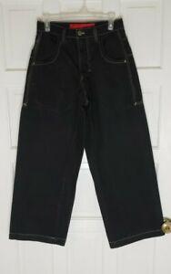 JNCO 85 Jeans Denim Vtg 90's Flaming Skull Skater Punk Tag 29x30 Black Baggy EUC