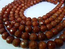 """Natural Untreated Red Sponge Coral Faceted Round 10mm Gemstone Beads 15.5"""" Std."""