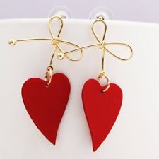 Fashion Red Heart Gold Bow Drop Earrings Women Simple Dangle Valentine Day Gift