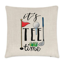 It's Tee Time Linen Cushion Cover Pillow - Funny Golf Dad Father's Day Sport