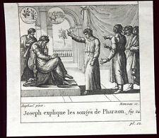 """gravure ancienne François Manceau .Raphaël pinx.""""Joseph explique les songes""""1825"""