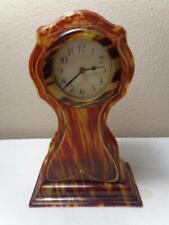 Vintage Faux Tortoise Shell New Haven Shelf Mantel Clock Running