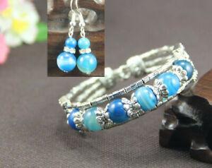 Ladies Bangle Blue Agate Tibetan Silver Bracelet Earrings Christmas Gift