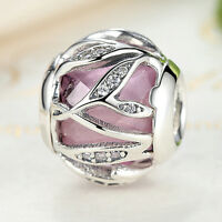 Pink Clear CZ Nature Radiance 925 Sterling Silver Charm Bead Fits Bracelet Chain