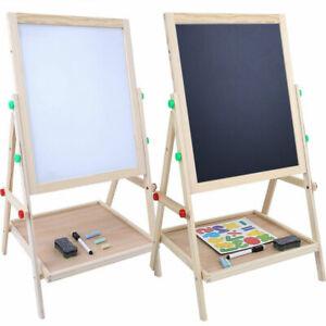 Wooden 2in1 Kids Easel Chalk Drawing Board Blackboard and Whiteboard Children Ki