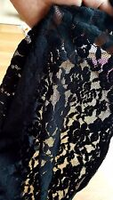 CLEARANCE Stretch span Black Floral lace fabric 122cm x 100cm  flower 1 metre A*