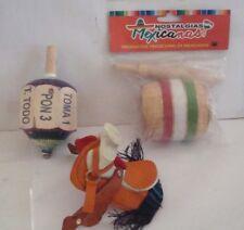 Juguete Mexicano, silla de montar, valero y pirinola