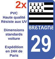 2 Autocollants sticker vinyle immatriculation département 29 Finistère Bretagne
