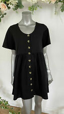 Influence Smock Dress Black Button Through Down Size 8 & 10 EO26 NEW