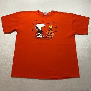 Vintage Peanuts Snoopy T-Shirt Size XL Orange Halloween You Drive Me Batty Mens