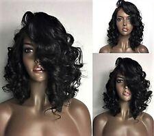"12"" #1b 7A Brazilian Curly Bob Style 150% Density Glueless Lace Front Wig"
