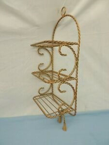 "VINTAGE WALL SHELF GOLD TONE METAL WIRE ROPE TASSEL CADDY 21.5"" x 8"" x 4.5"""