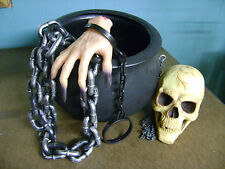 HALLOWEEN PROP HAUNTED HOUSE WITCH BREW POT CAULDRON W/ SKULL & CHAINS SET