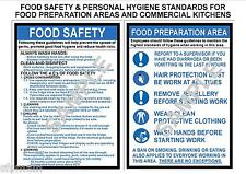 FOOD HEALTH SAFETY 2 A4 COMMERCIAL SIGNS, KITCHEN, CAFE, CANTEEN, FACTORY, SHOP
