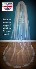 Wedding Veil *Cathedral Length*1 Tier*Off white & Ivory* Corded Lace Applique*