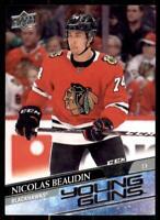 2020-21 UD Series 1 Base Young Guns #226 Nicolas Beaudin RC - Chicago Blackhawks