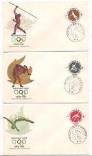 JAPAN FDC SET OF 3 SCOTT #B12 - B14 1961 TOKYO OLYMPICS DIVING WRESTLING JAVELIN