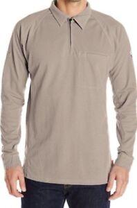Bulwark Size M Fire Resistant IQ Tan Gray Knit Long Sleeve Zip Polo FR Shirt