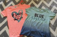 NWT Scotch R'belle lot 2 t-shirts tops blue ombre 10 140 Orange heart 12 152