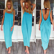 Womens Maxi Boho Backless Summer Long Skirt Hippie Holiday Beach Party Sun Dress